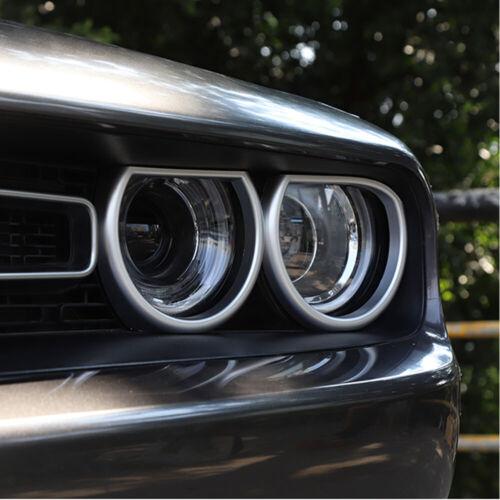 4x Front Headlight Light Trim Cover Decor Bezels for Dodge Challenger 15 Silver