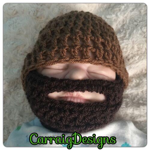 Handmade Baby Boy Barbe Chapeau marron foncé barbu Photo Prop Bonnet Père Cap