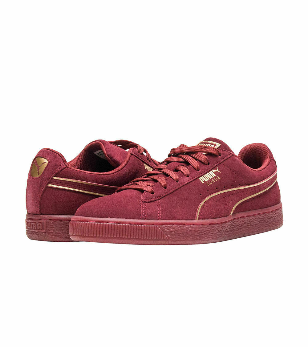 Puma Suede Foil  366096-03 Men's Sneaker shoes NEW Red Casual Burgundy gold sz 11