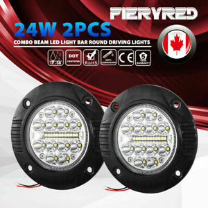 2 Pcs 24W Flush Mount LED Pods Spot Flood Beam Led Light Bar Round Driving Light