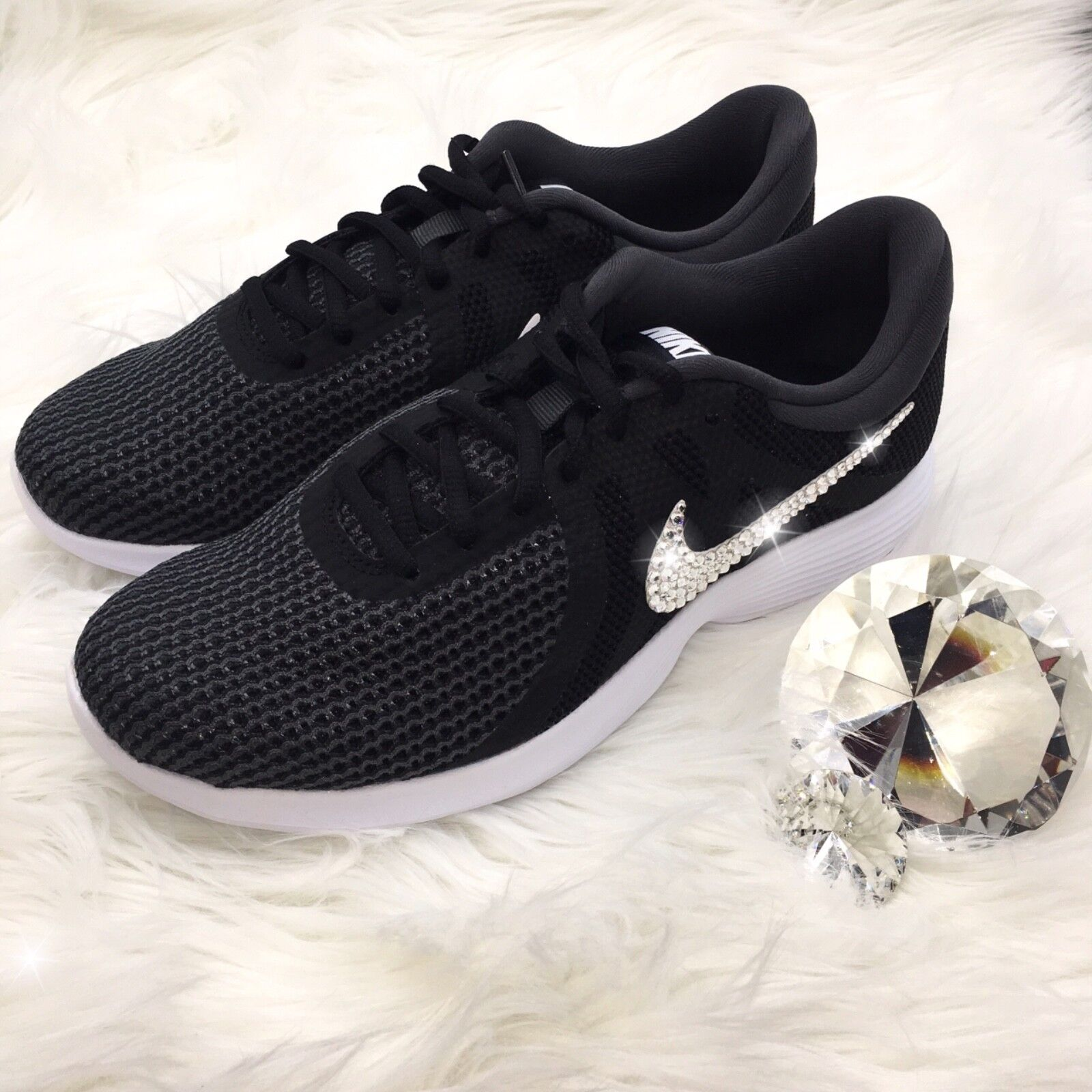 Bling Nike Revolution 4 Women's shoes w Swarovski Crystal Swoosh - Black & White