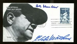 AB-Happy-Chandler-Eddie-Mathews-Signed-Babe-Ruth-FDC-Autographed-56213