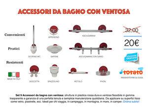 Accessori Da Bagno Con Ventosa.Dettagli Su Set 9 Accessori Da Bagno Con Ventosa In Plastica
