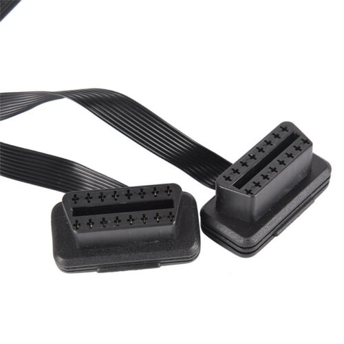 Flat 16Pin ELM327 OBDII Male Dual Female Y Splitter Elbow Extension Cable Lea/_vi
