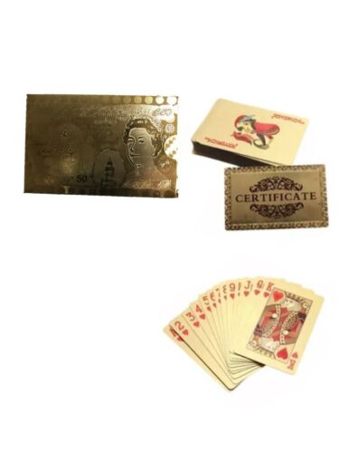 NEW 24K GOLD PLATED PLAYING CARDS FULL POKER DECK 99.9/% PURE PERFECT XMAS