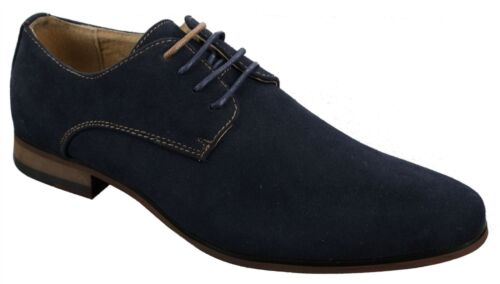 Mens Nubuck Suede Laced Smart Casual Shoes Navy Blue Brown Black