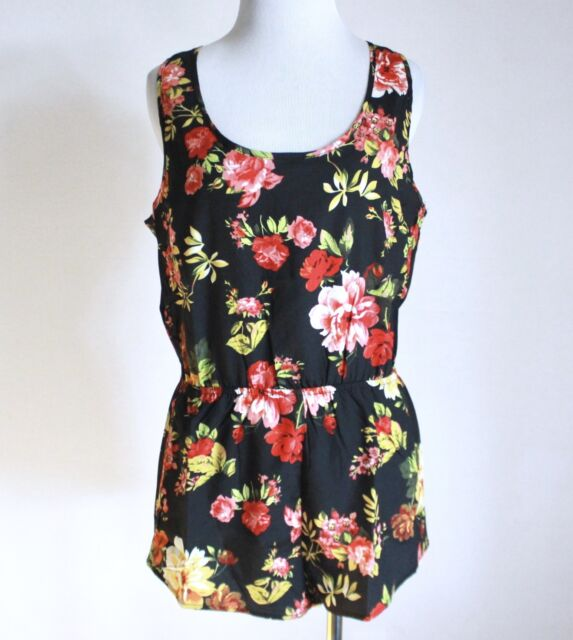 Nwt Ambiance Apparel Forever 21 Floral Keyhole Empire Waist Romper