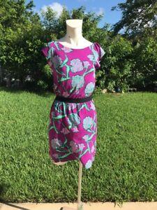 Lilly Pulitzer fiore abito manica dettaglio manica stampa rosa scuro S Sz cintura casual aarRqwU