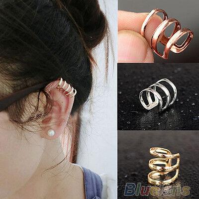 Stylish Ear Clip Cuff Wrap Earrings No Piercing Clip On Womens Trinity Earrings