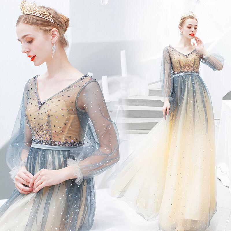 Femme Sexy hommeches longues Floral paillettes dentelle strass Prom robe de robe  782