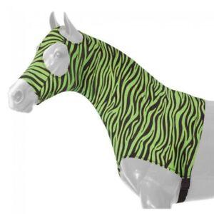 Tough-1-Mane-Stay-Small-Miniature-Lycra-Hood-Green-Zebra-Print-Horse-Tack