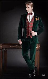 Men-Designer-Wedding-Grooms-Tuxedo-Casual-Green-Velvet-Coat-Suit-Coat-Pant