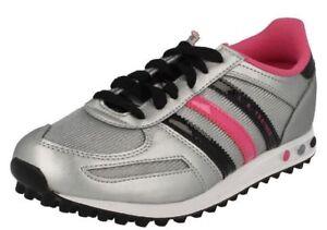 Adidas-la-Q33594-Argent-Fille-Noir-Pink-Trainers-R15B