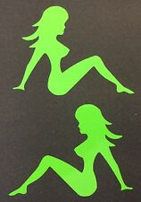 NEW LIME GREEN NUDE NAKED LADY TRUCKER GIRL MUDFLAP DECAL BADGE STICKER EMBLEM