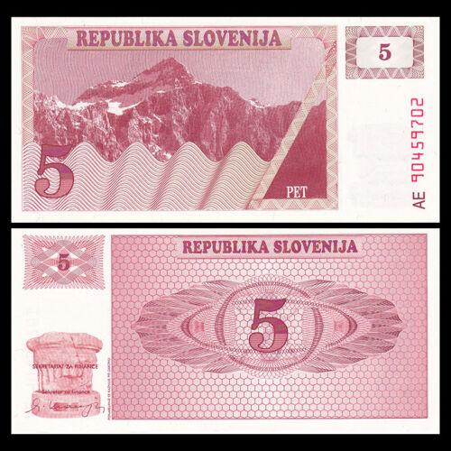 P-3 Europe Paper Money 1990 UNC Slovenia 5 Tolar Banknote