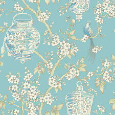 FD22759 - Mirabelle Room Turquoise Birds lanterns Fine Decor Wallpaper