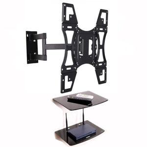 Swivel-Tilt-TV-Wall-Bracket-22-50-034-with-Double-Glass-DVD-AV-Shelf-VESA-400x400