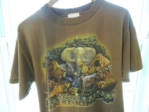 Vintage vtg embroidered animal distressed t shirt M  L crop cropped 90s 80s 1990s thrashed embroidery tiger elephant