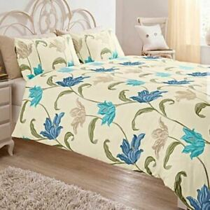 KINSALE FLORAL BLUE GREEN CREAM COTTON BLEND KING SIZE DUVET COVER
