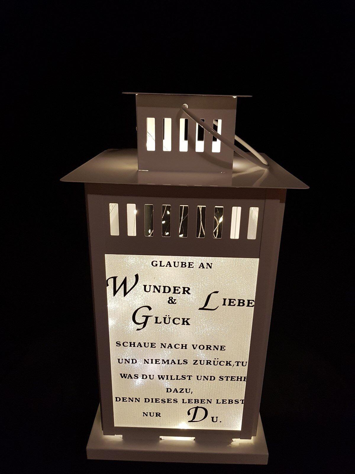 Laterne 44 cm mit mit mit Spruch und Lichterkette    Günstige Preise  4fbeca
