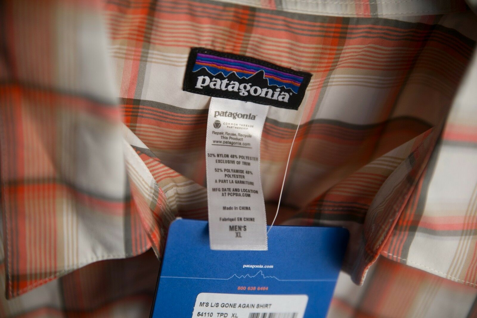 Patagonia Hemd mit Tasche Gone Again Shirt L L L S XL kariert Regular Fit Outlet 69a33e