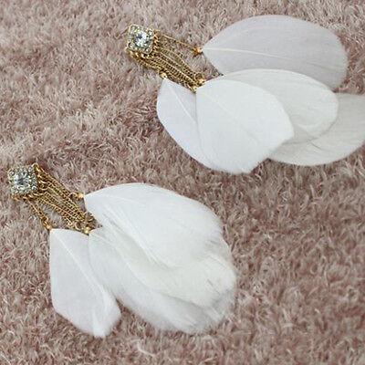 Cute Fashion Jewelry White Feather Charm Chain Cute Chandelier Earrings