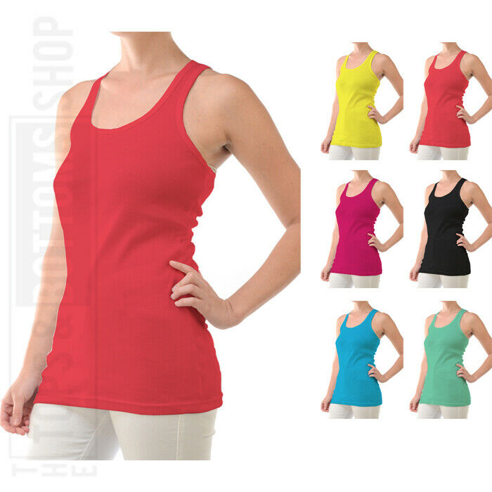 Womens Tank Top 100% Cotton Ribbed Racer Back A-Shirt Basic Workout Yoga TT401