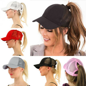 c77cb09d568 Image is loading Snapback-Sun-Sport-Women-Messy-Bun-Ponytail-Baseball-