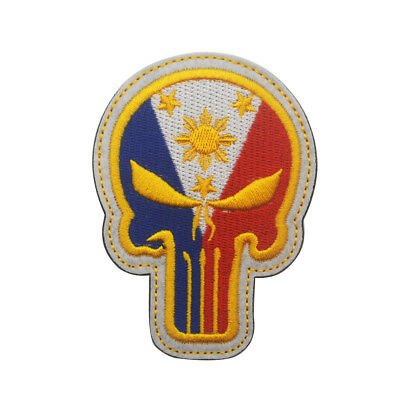 Embroidered Philippine Nation Flag Tactical Morale Hook Loop Patch Badge Grey