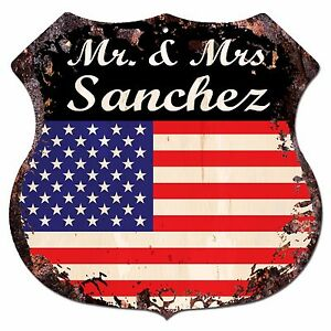 BPLU0033-America-Flag-MR-amp-MRS-SANCHEZ-Family-Name-Sign-Home-Decor-Gift