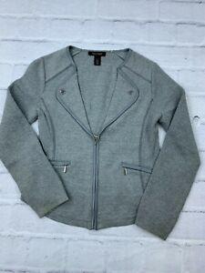 White House Black Market Womens Size S Knitted Full Zip Long Sleeves Jacket Gray