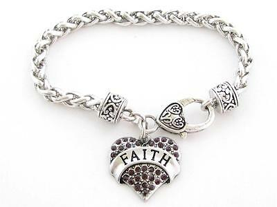Faith Purple Crystal Heart Charm Silver Lobster Clasp Bracelet Jewelry