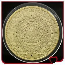 Gold farbige Medaille Goldmünze Maya Kalender Azteken Sonnenscheibe Geschenk TOP