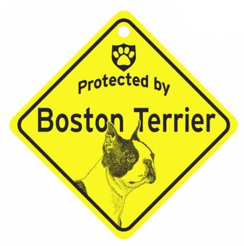 Protected by Boston Terrier Dog Car Window Sign