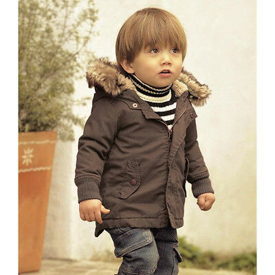 Baby Kid Boy WINTER Military Army Warm Fur Hood Snowsuit Coat Jacket Clothes 3-4