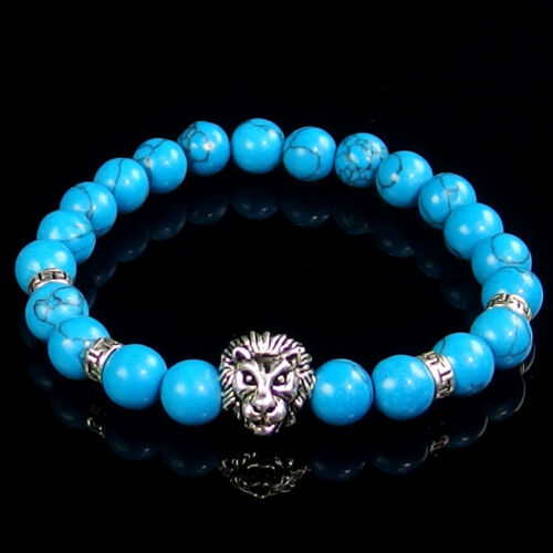 8mm Assorted Natural Gemstone Beads Lion Charm Stretchy Stone Beaded Bracelet