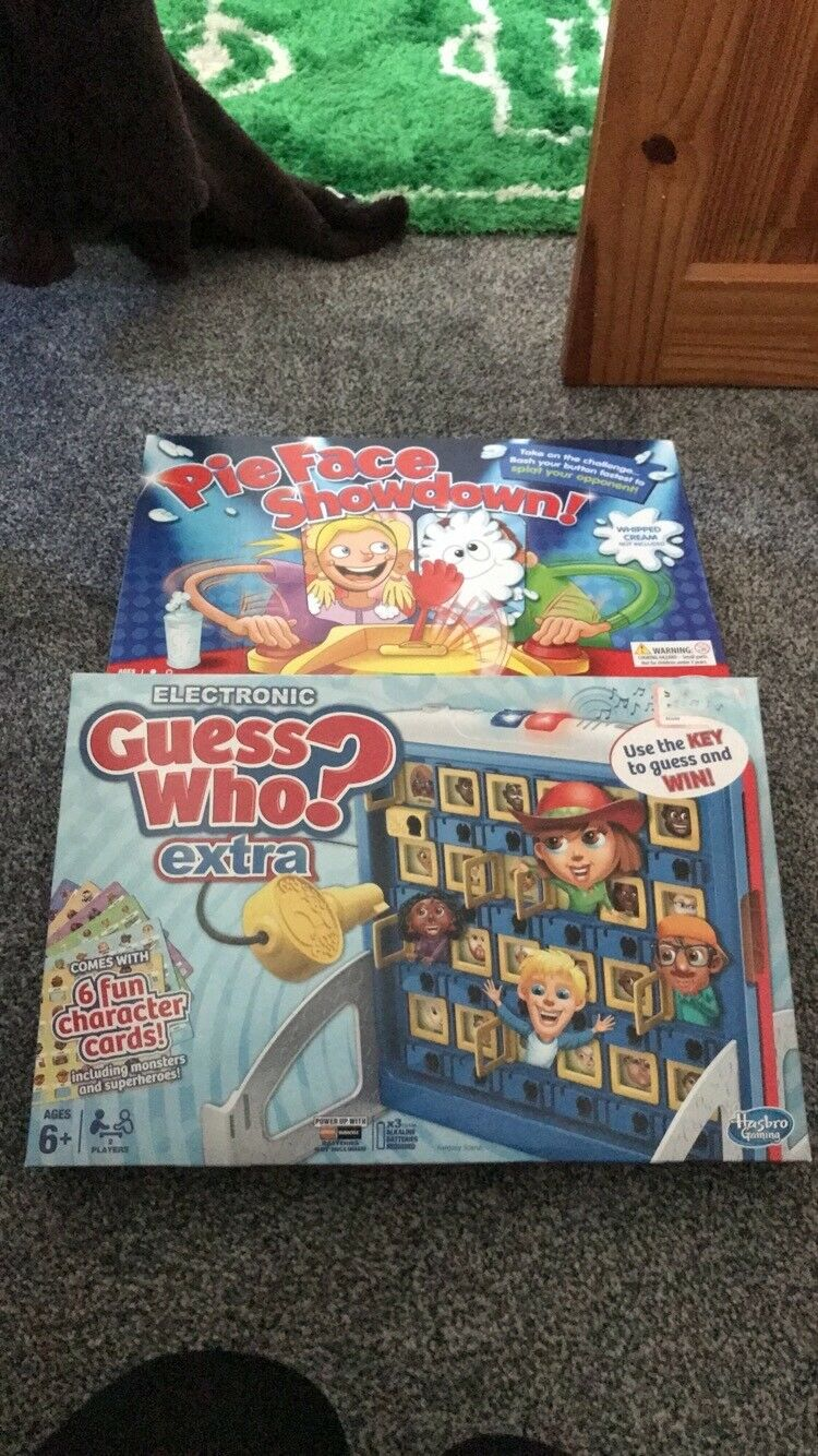 GUESS WHO ELECTRONIC, PIEFACE SHOWDOWN AND CRYSTAL MAKING KIT BORED GAMES