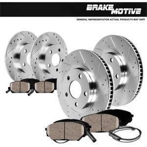 Front-Rear-Drill-Slot-Brake-Rotors-Ceramic-Pads-For-Mercedes-Benz-C250-C300