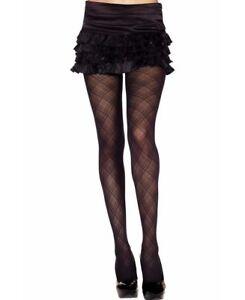 Japan Bow Diamond Criss Cross MEsh Pantyhose Tight Black