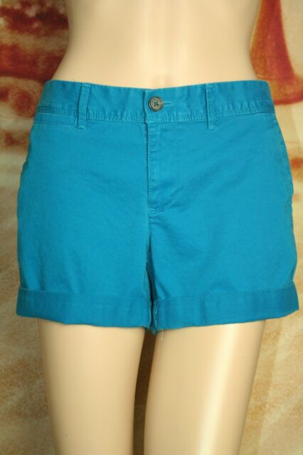 Womens Banana Republic mini shorts stretch bright teal size 4 P