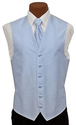 Large Mens After Six Aries Celestial Blue Tuxedo Fullback Vest//Tie Wedding Prom