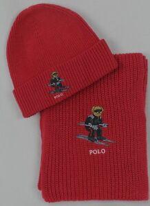 Polo Ralph Lauren Collectable Red Teddy Bear Scarf Beanie