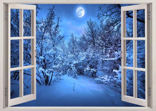 Hiver Neige Lune Nuit Fenêtre Autocollant Mural Salon Chambre Filles Garçons