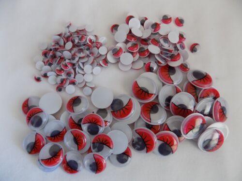 100 EYELASHES Wiggly Wobbly googly Eyes  Craft embellishements New RED