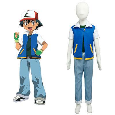 Pokemon Ash Ketchum Satoshi S1 Original Child Halloween Kid Costume Cosplay Suit