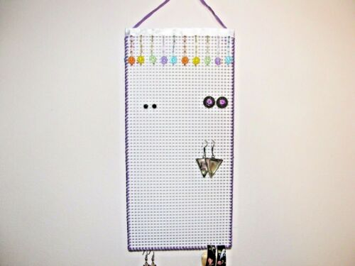 Hanging Earring Holder  Color FLOWER beads on White with PURPLE Smaller