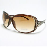 Womens Oversized Sunglasses Round Unique Designer Frame Brown