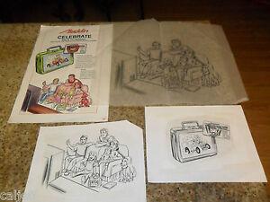 4-LOT-ORIGINAL-DISNEY-ALADDIN-LUNCHBOX-SKETCH-ART-amp-PROOF-POSTER-BACK-SCHOOL