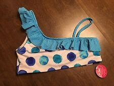 JUSTICE Swim Suit Top Girls Size 14 Blue White Polka Dot Ruffle Bikini NEW
