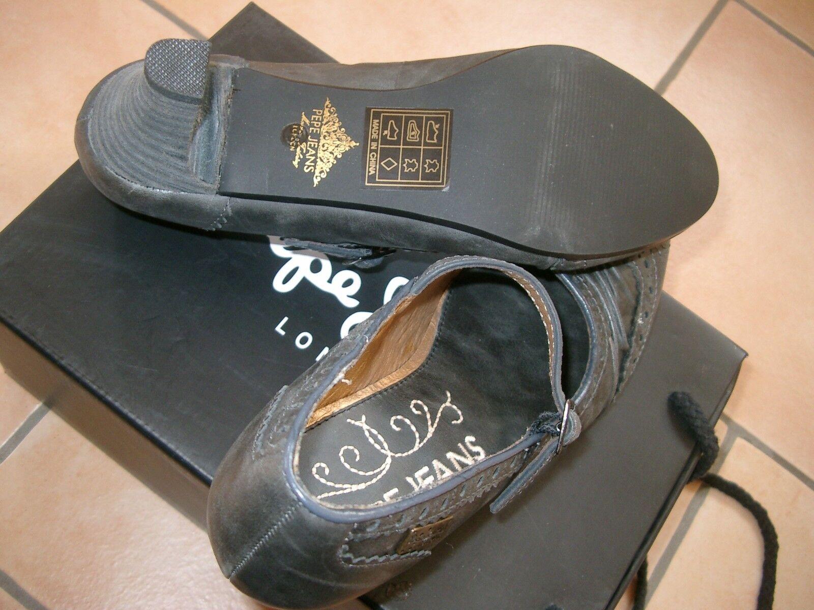 (Z41) Lyra Pepe Jeans London Damen Leder Schuhe Pumps mit Lyra (Z41) Lochung & Riemen gr.37 85337d